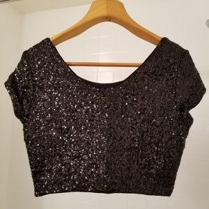 Express Black Sequin Crop Top